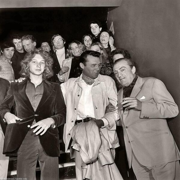Бьорн Андресен, Дирк Богард и Лукино Висконти на Каннском кинофестивале, 1971 год