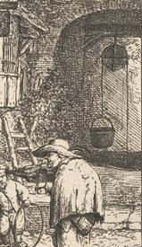 Адриан ван Остаде, Горбатый скрипач, фрагмент «Колодец с блоком»
