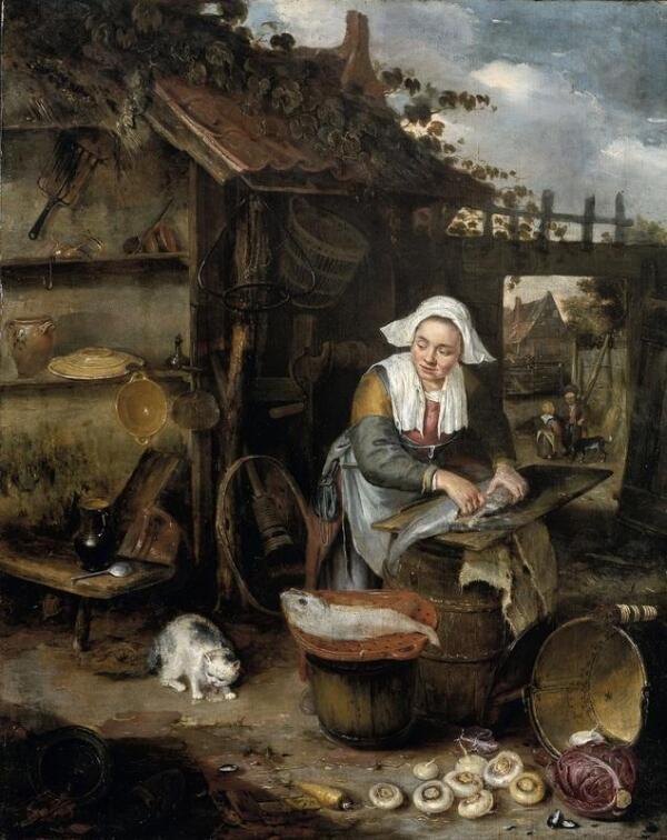 Хендрик Потьюл, Домохозяйка чистит рыбу во дворе, 1639, 45х36 см, Rijksmuseum, Амстердам, Нидерланды