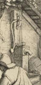 Адриан ван Остаде, Башмачник, фрагмент «Водяной насос»