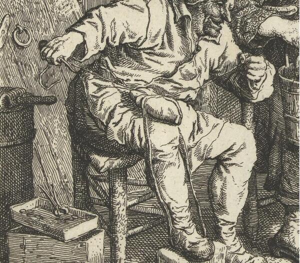 Корнелис Дюсарт, Искусный башмачник, фрагмент «Подшивка подошвы»