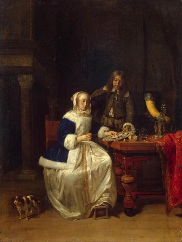 Габриэль Метсю, Завтрак, 1660, 56х42 см, Эрмитаж, Петербург, Россия