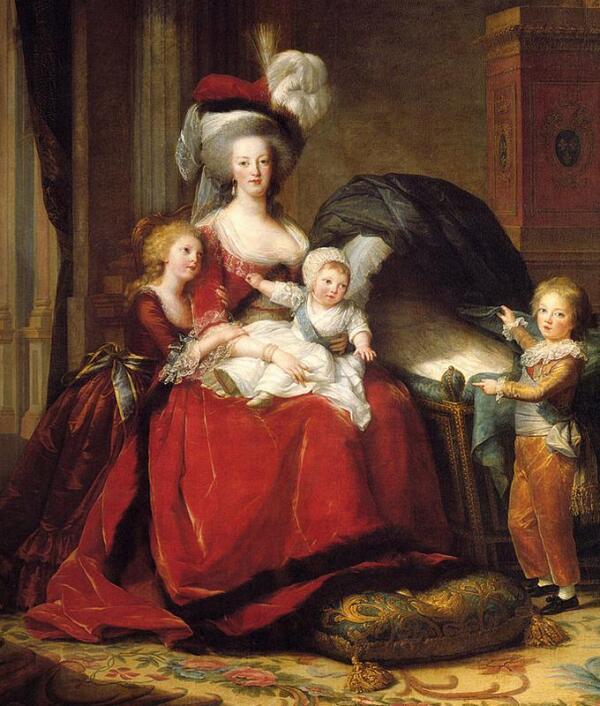 Мария-Антуанетта и её дети (1787). Королева показана в платье отороченном собольим мехом.