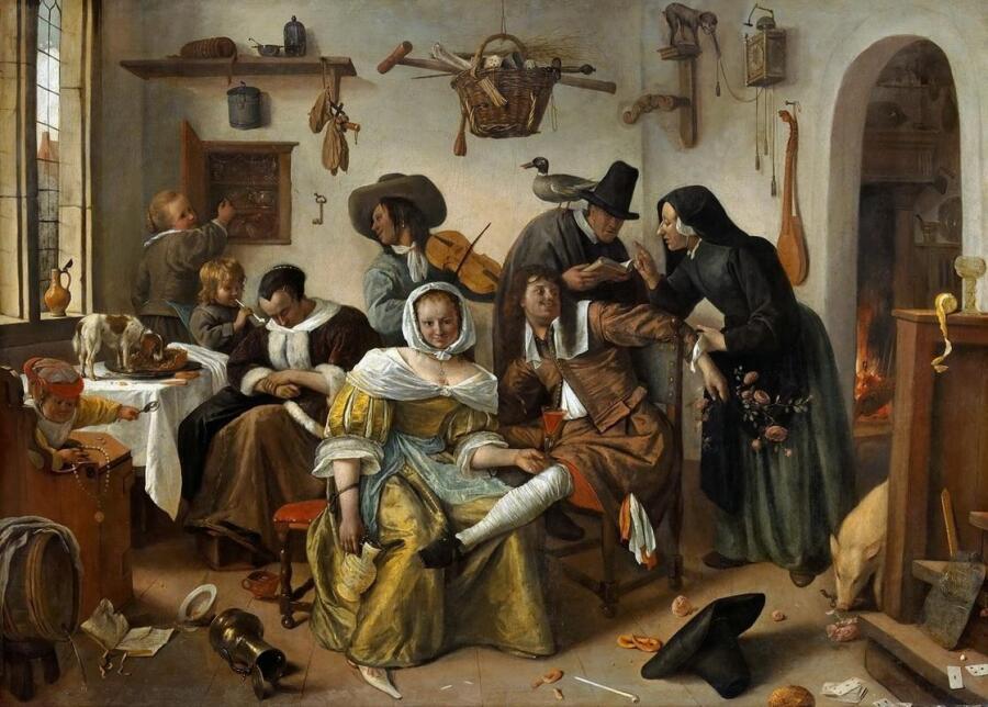 Ян Стен, Мир вверх тормашками, 1668, 105х145 см, музей истории искусств, Вена, Австрия