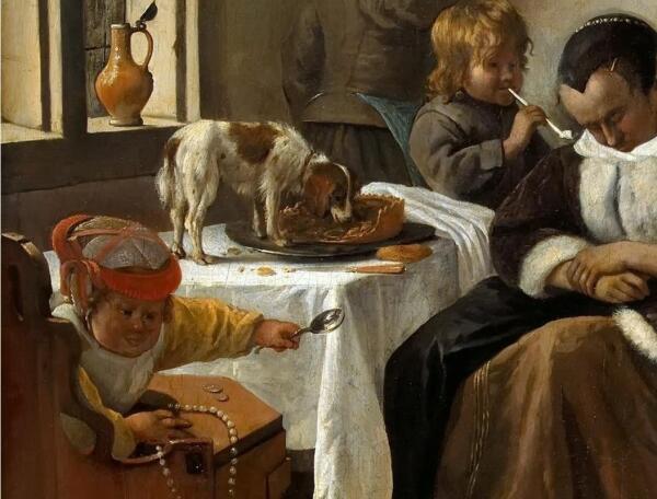 Ян Стен, Мир вверх тормашками, фрагмент «Собачка и пирог»