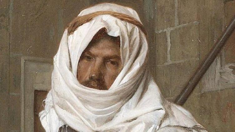 Жан-Леон Жером, «Арнаут с двумя уиппетами», фрагмент «Головной платок»