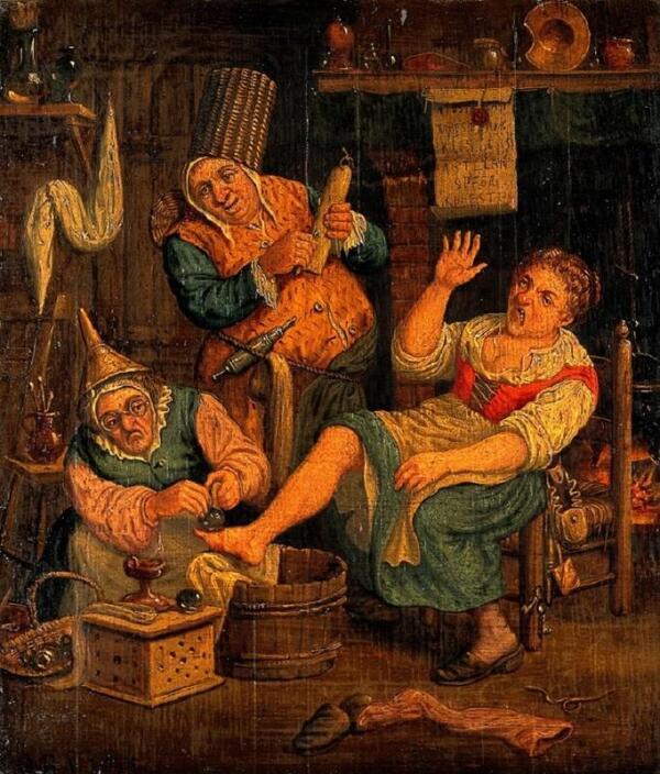 Корнелис Дюсарт, Женщина и ее помощница ставят банки больной, 1695