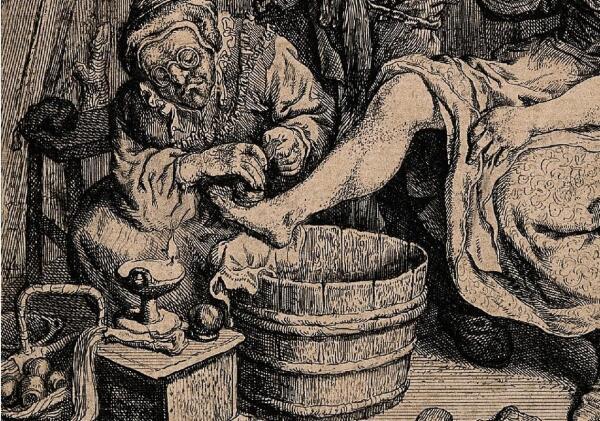 Корнелис Дюсарт, Женщина и ее помощница ставят банки больной, фрагмент «Банки»