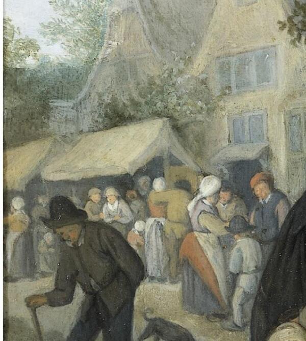 Корнелис Дюсарт, Деревенская ярмарка, фрагмент «Павильоны»