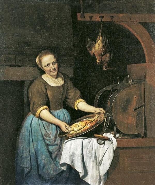 Габриэль Метсю, Повариха, 1667, 40х34 см, Museo Thyssen-Bornemisza, Мадрид, Испания