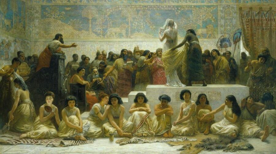Эдвин Лонг, Вавилонский рынок невест, 1875, Royal Holloway College, Лондон, Англия