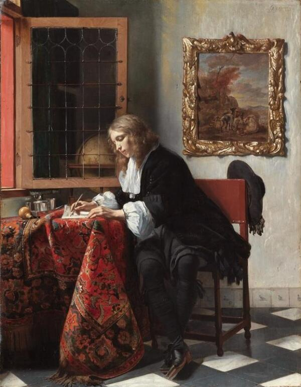 Габриэль Метсю, Мужчина пишет письмо, 1664, 53х40 см, Национальная галерея Ирландии, Дублин