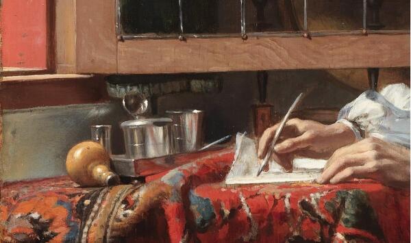 Габриэль Метсю, Мужчина пишет письмо, фрагмент «Чернильный прибор»