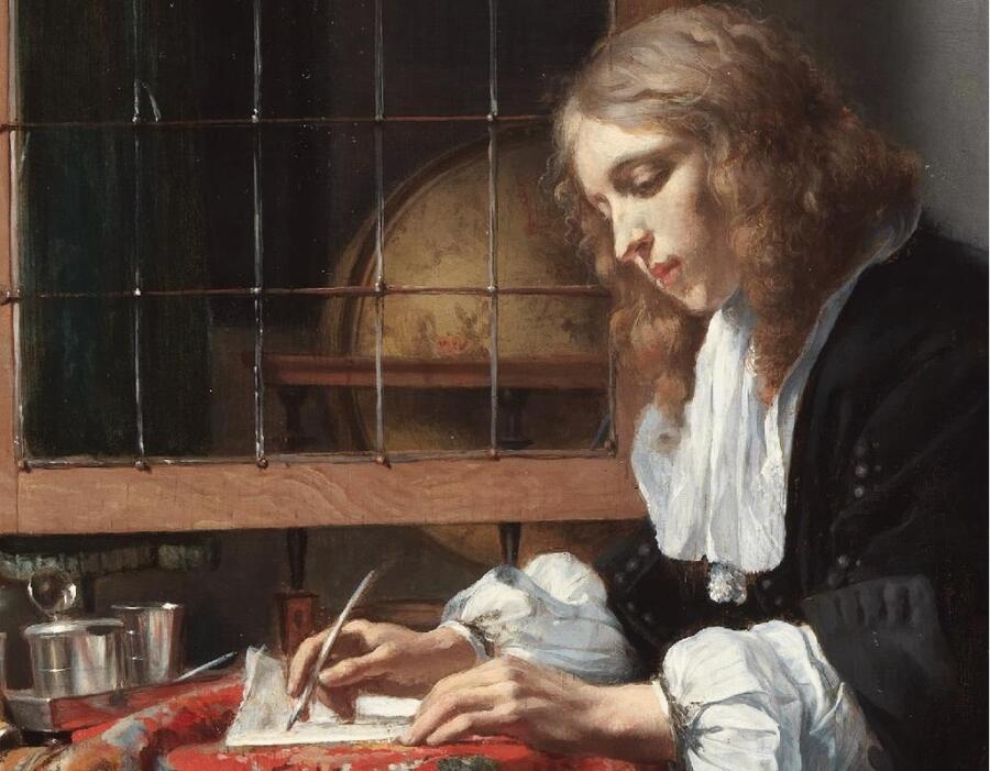 Габриэль Метсю, Мужчина пишет письмо, фрагмент «Глобус»