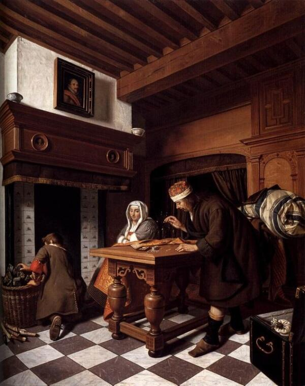 Корнелис де Мэн, Мужчина взвешивает золото, 1670, 82х68 см, частная коллекция