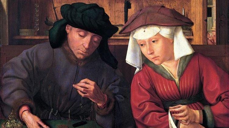 Квентин Массейс, Меняла и его жена, 1514, 71х68 см, Лувр, Париж, Франция