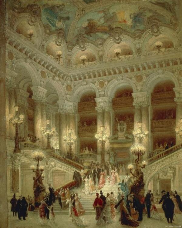 Луис Беро, Фойе парижской оперы, 1877, 65х54 см, museum karnavalet, Париж, Франция