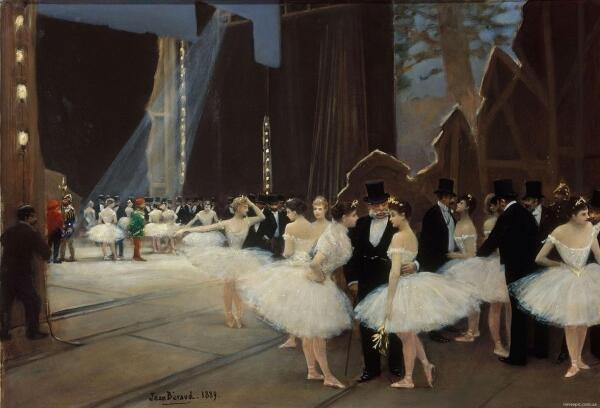 Жан Беро, За кулисами, 1889, 38х54 см, museum karnavalet, Париж, Франция