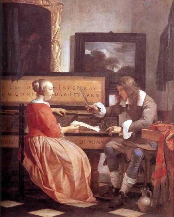 Габриэль Метсю, Мужчина и женщина у клавесина, 1658 38х32 см, Национальная галерея, Лондон, Англия
