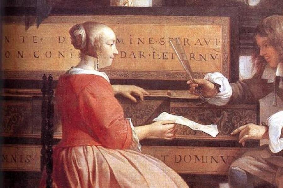 Габриэль Метсю, Мужчина и женщина у клавесина, фрагмент «Стихи на клавесине»