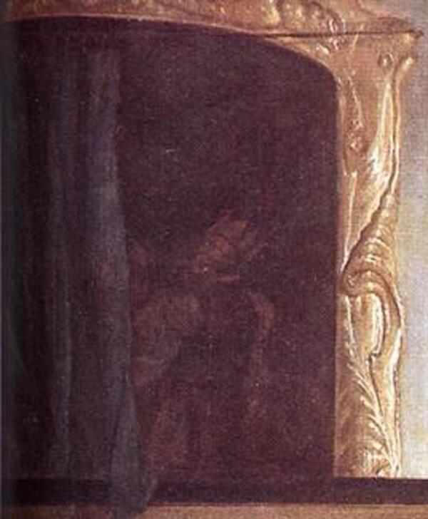 Габриэль Метсю, Мужчина и женщина у клавесина,  фрагмент «Картина за занавеской»