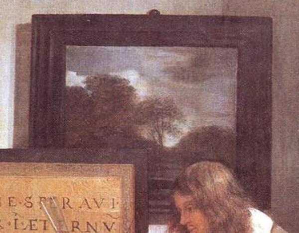 Габриэль Метсю, Мужчина и женщина у клавесина, фрагмент «Пасмурный пейзаж»
