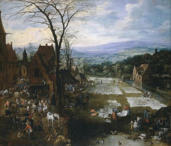 Ян Брейгель, Фламандский рынок и прачечная 166х194 см 1620, Прадо, Мадрид, Испания
