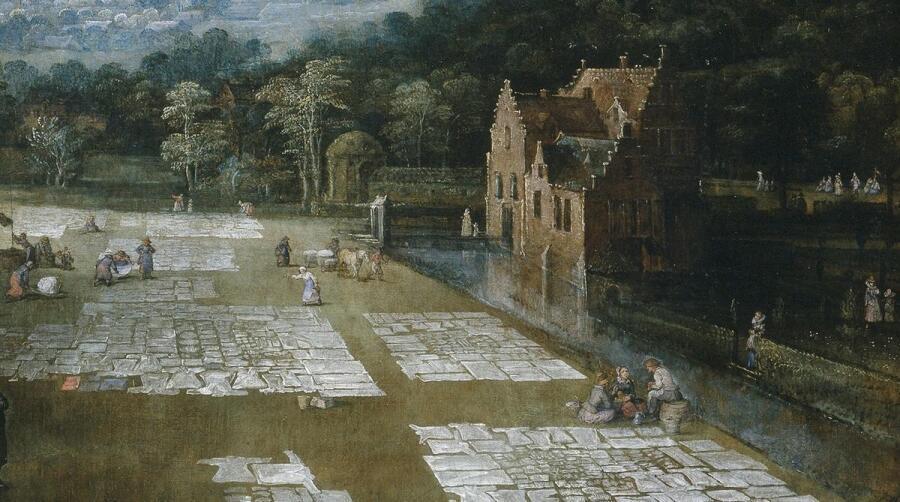 Ян Брейгель, Фламандский рынок и прачечная, фрагмент «Канал и дом у канала»