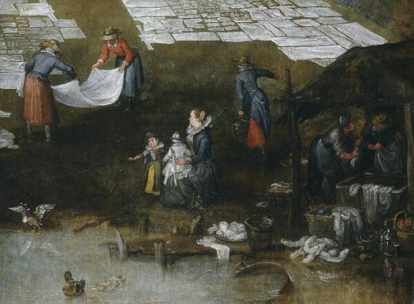 Ян Брейгель, Фламандский рынок и прачечная, фрагмент «Экскурсия»