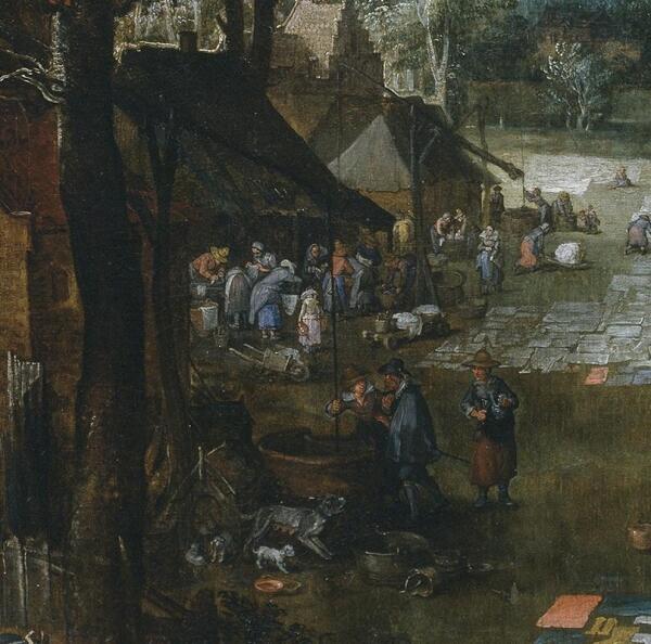 Ян Брейгель, Фламандский рынок и прачечная, фрагмент «Прачки и колодцы»