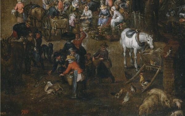 Ян Брейгель, Фламандский рынок и прачечная, фрагмент «Продажа скота и рыбы»