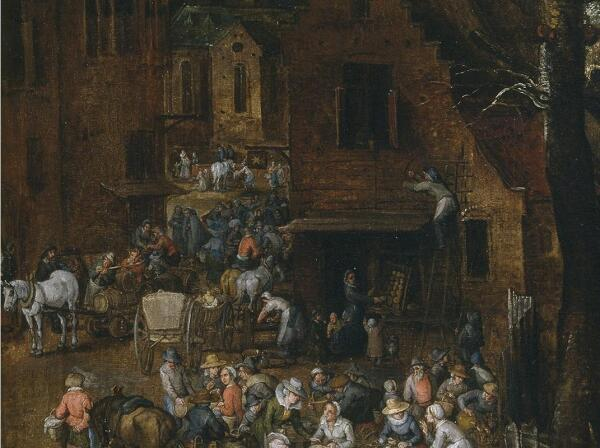 Ян Брейгель, Фламандский рынок и прачечная, фрагмент «Пекарня»