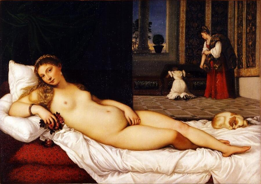 Тициан, Венера Урбинская, 119×165 см, 1538, Галерея Уффици, Флоренция, Италия