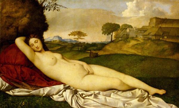 Джорджоне, Спящая Венера, 108×175 см, 1508, Галерея старых мастеров, Дрезден, Германия