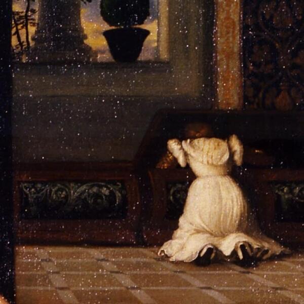 Тициан, Венера Урбинская, фрагмент «Служанка у сундука»
