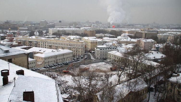 Хитровская площадь после сноса Электромеханического колледжа, январь 2010 года