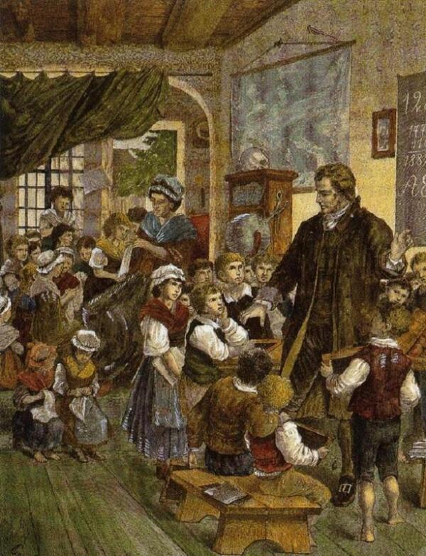 Песталоцци и его жена Анна на занятиях в детском доме (с гравюры 1882 года, автор неизвестен), частное собрание