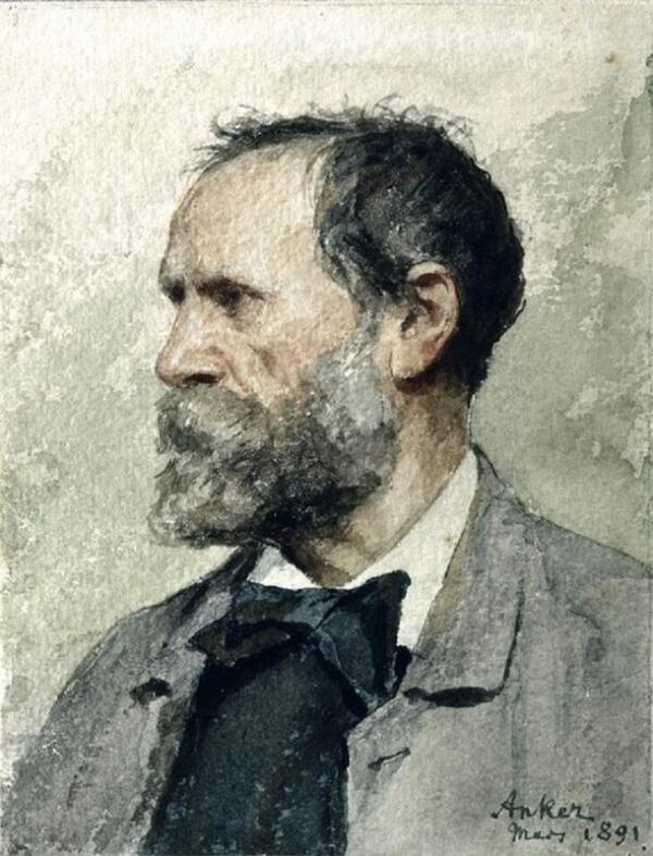 Альбрехт Самуэль Анкер, Автопортрет,1891, 16х13 см, частное собрание