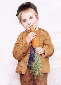 Альбрехт Анкер, Маленький мальчик с большой морковкой, 1904, частное собрание