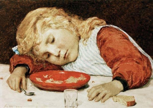 Альбрехт Анкер, Спящая девочка, 1909, 34х24 см, частное собрание