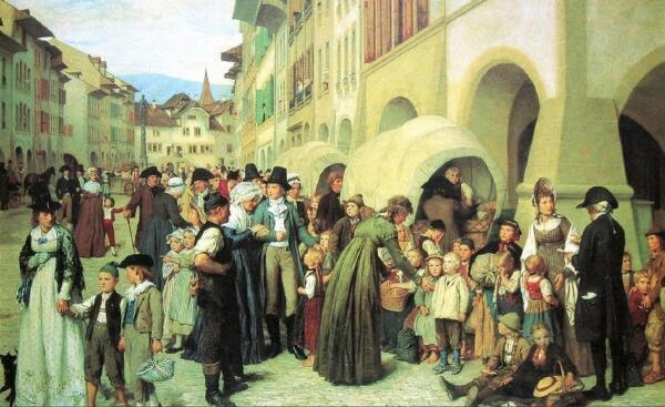Альбрехт Анкер, Деревенские сироты,1876, 111x175 см, Musee d