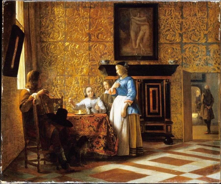 Питер де Хох, Interior with Figures (Приятная компания), 58х69 см, 1663, Метрополитен музей, Нью-Йорк, США