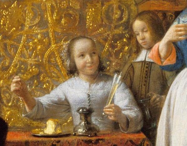 Питер де Хох, Приятная компания, фрагмент «Девушка держит рюмку»