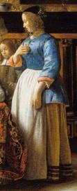 Питер де Хох, Приятная компания, фрагмент «Женщина в голубой кофте»