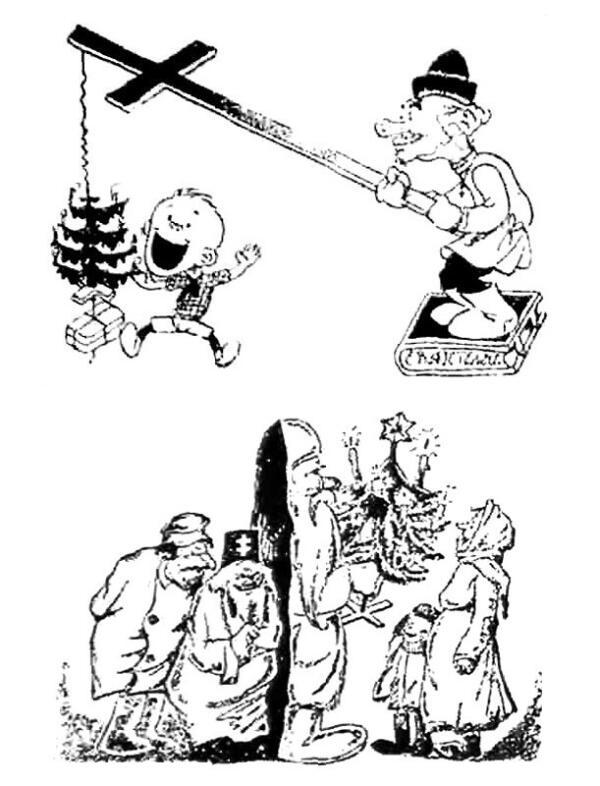 Советские карикатуры 1930 года, направленные против Рождества.