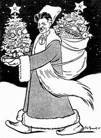 Газетный шарж на Павла Постышева в шубе Деда Мороза. 1936 г.
