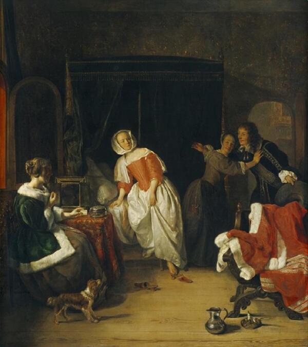 Габриэль Метсю, Нежданный визитер, 1661, 67х60 см, Национальная галерея искусств, Вашингтон, США