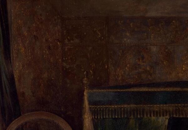 Габриэль Метсю, Нежданный визитер, фрагмент «Отделка стен»