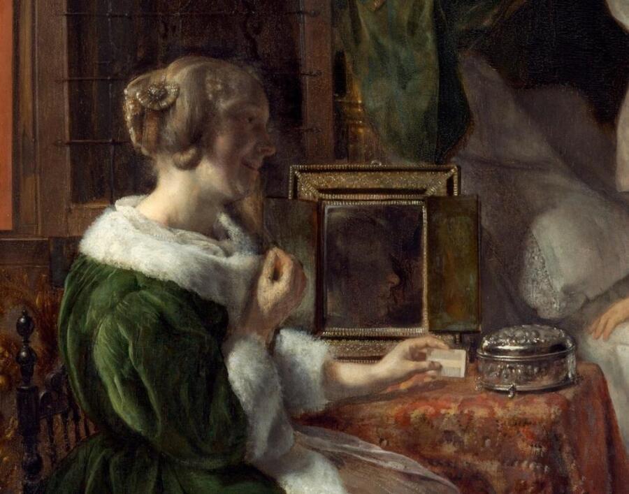 Габриэль Метсю, Нежданный визитер, фрагмент «Подруга перед зеркалом»