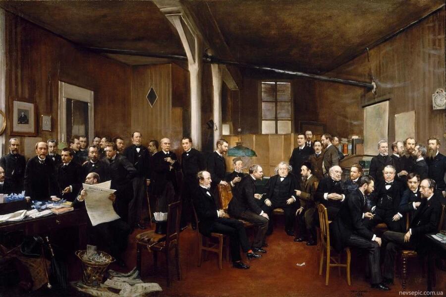 Жан Беро, редакция новостей «Journal des Debats», 1889, 98х151 см, Музей д'Орсе, Франция